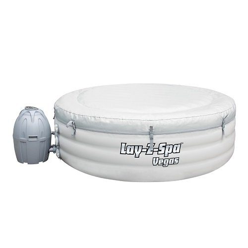 Lay-Z-Spa Vegas Premium Series Inflatable Hot Tub from side covered