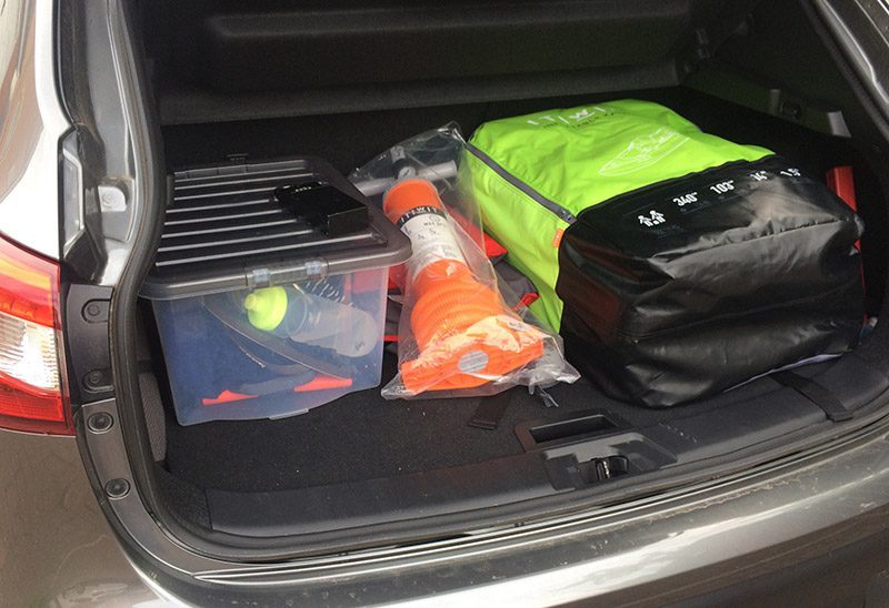 ITIWIT 2 man inflatable kayak in the boot of a Qashqai