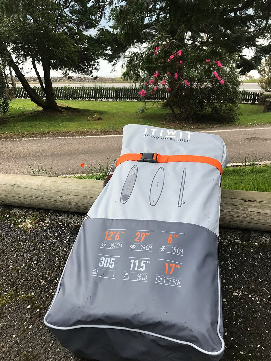 Decathlon ITIWIT inflatable touring SUP board in bag